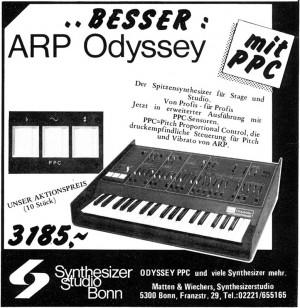 ARP Odyssey Anzeige im Fachblatt, Dezember 1977 Quelle: www.synthmuseum.de