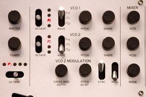 Der VCO- und der Mixer-Bereich und des Korg minilogue