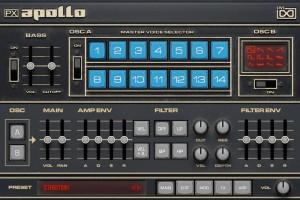 """UVI Apollo PX Test: Die """"Main""""-Seite/Tab. Nicht zu übersehen: die Master Voice-Sektion."""