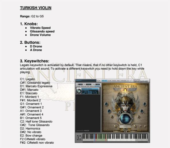 Key-Switch-Belegung der Turkish Violin, Bild: Manual
