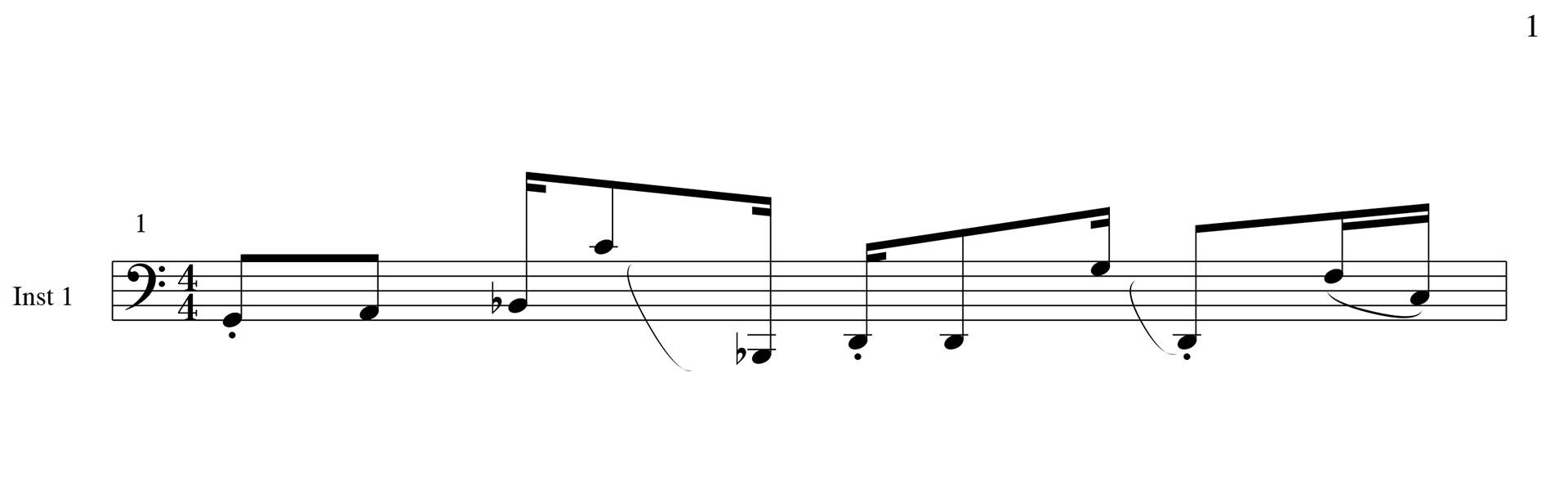 Ein typisches 303-Pattern in Notenschrift
